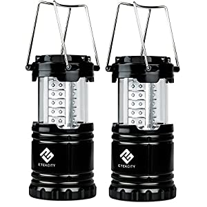 Etekcity Portable Outdoor LED Camping Lantern with 6 AA Batteries, Collapsible, Black, 2 Count