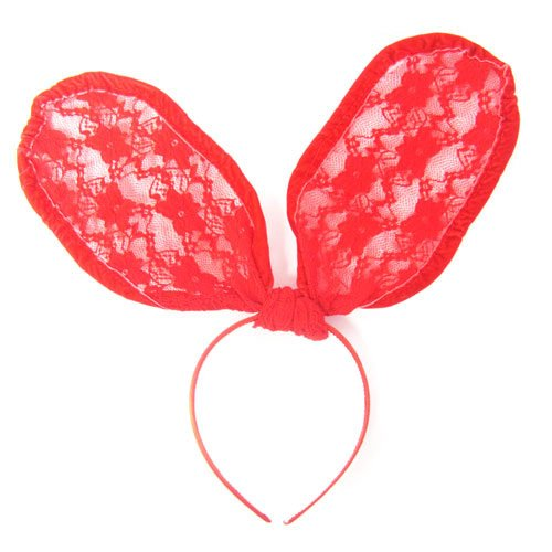 [See-thru Lace Covered Bunny Ears Celebrity Style Halloween Costume Headband / Hairband in Red] (Hollywood Celebrities Halloween Costumes)