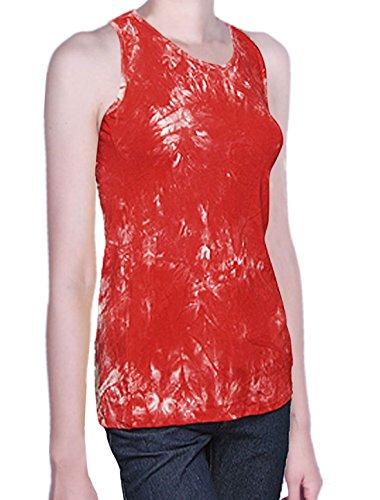 Ladies White Red Tie Dye Racer Back Elastic Tank Top Xs