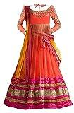 #8: MAHAVIR FASHION Girl Kids Net Embroidered Semi-stitched Lehenga Choli For Girls Wear (For 7-14 Yrs girls)