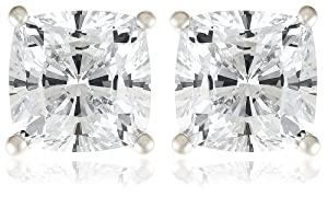 Platinum Plated Sterling Silver Cushion-Cut Cubic Zirconia Studs (3 cttw)