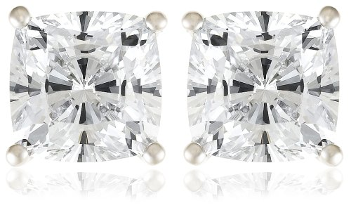 Platinum Plated Sterling Silver Cushion-Cut Cubic Zirconia Studs