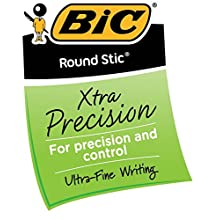 BIC Round Stic Xtra Precision Ball Pen, Fine Point (0.8 mm), Black, 12-Count (3 Packs of 12)