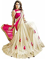 Ara Cruz Women's Georgette & Net Saree (Sanaya Pink3_Pink & Off White)