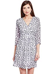 Purys White Abstract Wrap Dress - X-Large