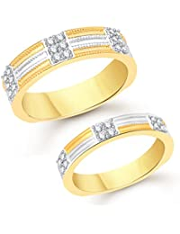 VK Jewels Two Tone Gold And Rhodium Plated Alloy Couple Ring For Men & Women- CPLFR1036G [VKCPLFR1036G_10F_24M]