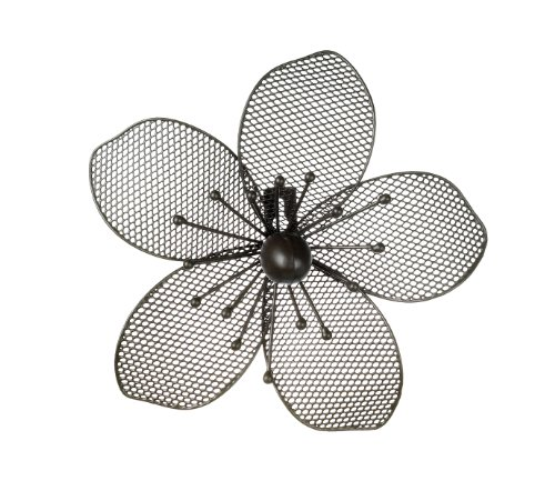 Small Decorative Flower Bloom Wall Art - Black Metal Finish