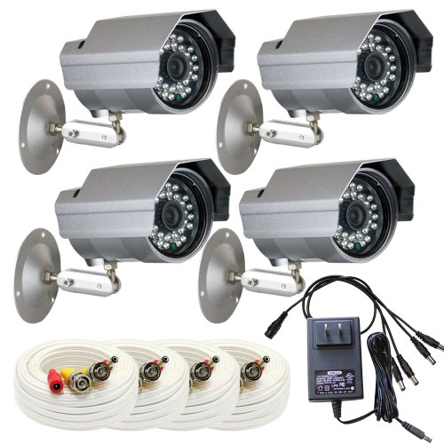 """Gw 4 X Professional 1/3"""" Panasonic Ccd Outdoor Camera With 60Ft Bnc Cable & Power Supply Pack, 3.6Mm Lens, 700 Tv Lines, 30Pcs Ir Led, 82 Feet Ir Distance. Vandal Proof & Water Proof"""