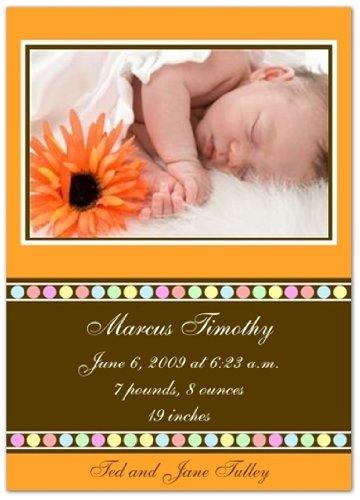 Gumballs on Orange Birth Announcements - Set of 20