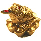1 X Feng Shui Mini Three Legged Wealth Frog (Money Frog or Money Toad) on the Pile of Yuan Bao to Attract Wealth and Good Luck
