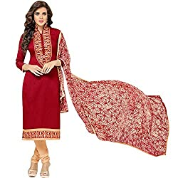 pakiza design new red chanderi cotton festival partywear salwar suit dress material for women