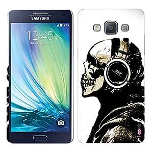 Heartly Skull Printed Designer Thin Hard Bumper Back Case Cover For Samsung Galaxy A5 2015 SM-A500F - Headphone Black