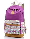 Leaper Casual Style Lightweight Canvas Laptop Backpack Cute Travel School College Shoulder Bag Bookbags Daypack for Teenage Girls Students Women-With Laptop Compartment Purple