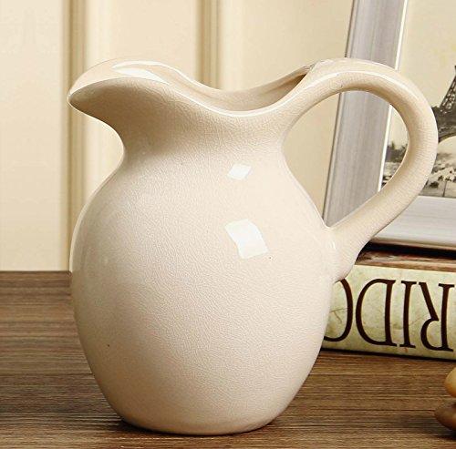 Duovlo Antique Rustic Style Ceramic Flower Vase Decorative Pitchers Pack of 1 (White) (White Ceramic Pitcher Vase compare prices)