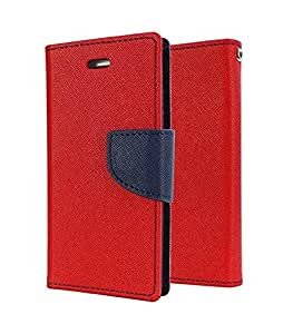 MEEPHONG Artificial Leather INSIDE SILICONE WITH CASH POCKET FLIP COVER FOR One Plus 2 Red