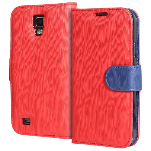 GreatShield LOLLY Series Toothpick Grain Pattern Design Wallet Flip Leather Case Cover (Stand Function) with Card/Cash Pocket Slot for Samsung Galaxy S4 Active / I9295 / SGH-I537 (Red/Navy)