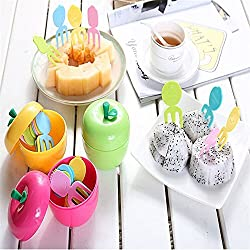 Rian's Online 10 pcs/set Cute Reusable ABS Plastic Lovely Tropical Fruit Fork Set With Apple Shape Box Container Kids Cake Dessert Salad Snack Forks Toothpick Cutlery Kitchen Accessories Decoration Home (Random Color)
