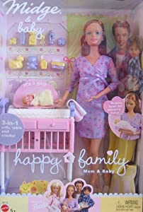 Doll Set w 3-in-1 Crib, Pregnant Mom & Baby Doll (2002): Toys & Games