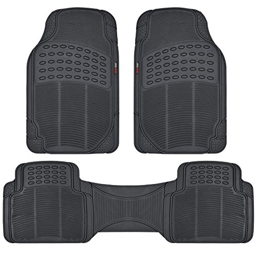 Motor Trend FlexTough Rubber Floor Mats for Car & SUV - 100% Odorless & All Weather Heavy Duty (Black) (Black Car Mats For Acura Tsx compare prices)