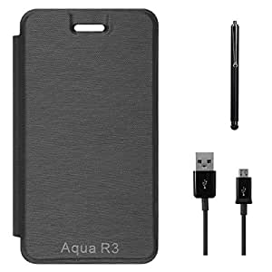 DMG PU Leather Flip Cover Case for Intex Aqua R3 (Black) + Data Cable + Stylus
