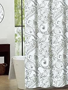 Amazon Com Nicole Miller Fabric Shower Curtain Grey Taupe Paisley Medallion Pattern Home Amp Kitchen