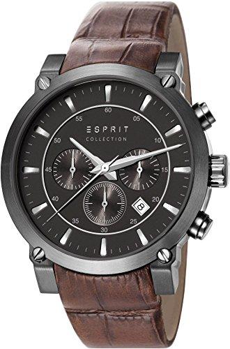 Esprit  POROS - Reloj de cuarzo para hombre, con correa de cuero, color marrón