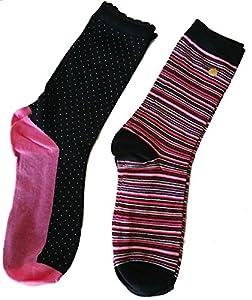 Set of 2 Kate Spade Women's Trouser Socks Black Pink Stripes by kate