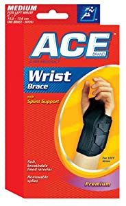 ACE Wrist Brace with Splint Support, Left, Medium