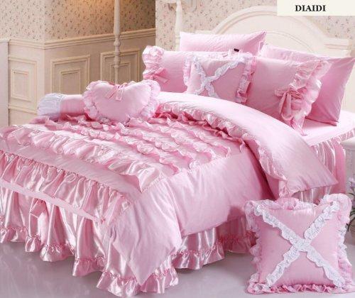 Korean Bedding Set,Beautiful Princess Bedding Sets,Luxury Pink Ruffle Bedding Set,Twin Queen King,4Pcs