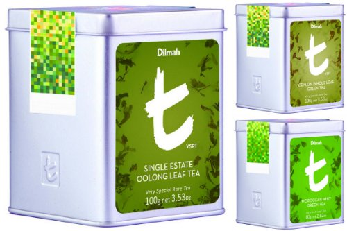 Dilmah, Luxury T-Series Vsrt, Very Special And Rare Green & Oolong Loose Leaf Tea Collector Pack , 100% Pure Ceylon Single Origin Leaf Tea, Designer Caddy, 10 Oz Total, (Pack Of 3)