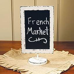 Framed Pedestal Chalkboard - 14-in Rustic Messageboard Free Standing