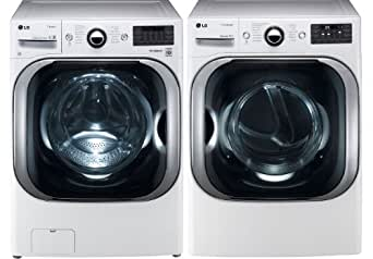 LG White 5.1 Cu Ft Front Load Steam Washer and 9.0 Cu Ft Steam Electric Dryer set WM8000HWA DLEX8000W