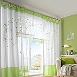 Souarts-Grn-Stickerei-Transparent-Gardine-Vorhang-Schlaufenschal-Deko-fr-Wohnzimmer-Schlafzimmer-Studierzimmer-140cmx225cm