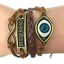 buy Time Pawnshop Retro Knit Bronze Angel Eyes Best Friend Two Hearts Multilayer Leather Bracelet