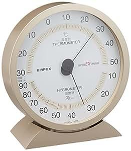 エンペックス気象計 温度湿度計 スーパーEX 高品質温湿度計 置き掛け兼用 日本製 シャンパンゴールド EX-2718