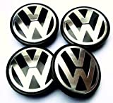 VW Volkswagen 55mm 3D Mittelkappen, kuppelförmig, 4 Stück