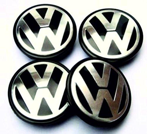 VW Volkswagen - Coprimozzo da 55 mm per cerchi, a cupola 3D, 4 pezzi