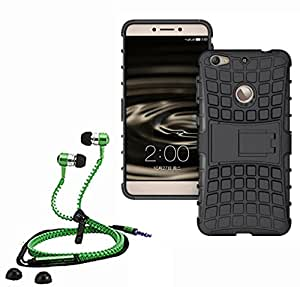 Hard Dual Tough Military Grade Defender Series Bumper back case with Flip Kick Stand for LETV IS + Stylish zipper hand free for all smart phones by Aart Store