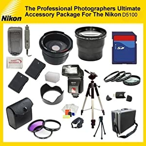 The Professional Photographers Ultimate Accessory Package For The Nikon D3100, D5100 includes: 32GB Hi Speed Error Free Memory Card, Hi Speed Card Reader, Macro Lens Kit, 2 Replacement Enel-14 Batteries, Hard Flower lens Hood, 0.5x Professional Wide Angle Lens , 3.6X Telephoto Lens, 72 Inch tripod, Professional Digital Camera Swivel TTL Flash, Flash Diffuser, Hard Carrying Case, Lens Cleaning Kit, Screen Protectors, Flexible Mini Tripod and More...