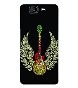 Fuson 3D Printed Guitar Designer Back Case Cover for Micromax Canvas Knight A350 - D630