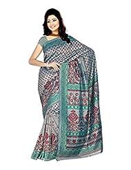 Sonal Trendz Women's Green Crepe Self Print Saree With Blouse Piece