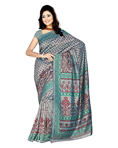 Sonal Trendz Women's Green Crepe Self Print Saree With Blouse Piece