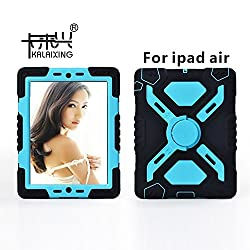 KaLaiXing® Silicone Plastic Protective Dual Layer Shock Absorbing Protective Case with Kickstand for iPad air/iPad 5 -Black blue