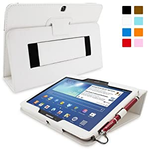 Snugg Galaxy Tab 3 10.1 Case - Smart Cover with Flip Stand & Lifetime Guarantee (White Leather) for Samsung Galaxy Tab 3 10.1
