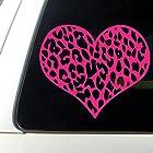 Leopard Print Heart Car Decal / Sticker Hot Pink