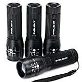 Pack of 4, BYB Adjustable Focus Cree LED Flashlight Torch, Super Bright 150 Lumen, 3 Light Modes