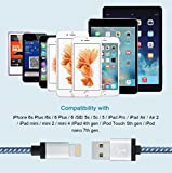 Charger(TM) NEW 2pcs 6ft Durable Braided Charging Cord, Data Cable for iPhone 6S 6S Plus 6 6 Plus 7 7 Plus SE 5S 5C 5 iPad Air Mini iPad 4th iPod(BLUE)