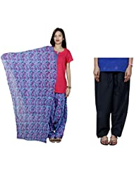 Indistar Women's Cotton Blue Patiala Salwar With Dupatta And Black Plain Salwar - B01HV50MPY