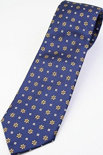 (ドレイクス) DRAKE'S 英国生地使用 ネイビー系 シルク 花柄 小紋 ジャカード ネクタイ jg14596