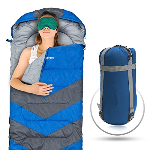Sleeping Bag - Envelope Lightweight Portable, Waterproof, Comfort With Compression Sack - Great For 4 Season Traveling, Camping, Hiking, & Outdoor Activities. (SINGLE) (Lightweight Sleeping Quilts compare prices)